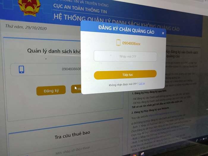 """Người dân đã có thể đăng ký vào """"Danh sách không quảng cáo"""" qua website - Ảnh 1."""